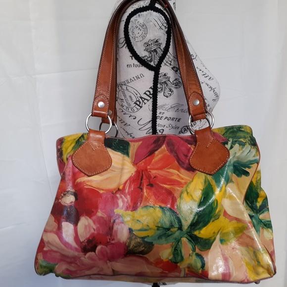 Maurizio Taiuti Handbags - -SOLD- MAURIZIO TAIUTI LARGE HAND PAINTED LEATHER